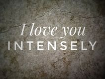 I Love You Intensely quote with the wall background. stock images