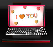I Love You Key Laptop Message Shows Loving Or Romance Royalty Free Stock Image