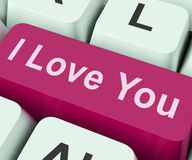 I Love You Key Shows Loving Or Romance Online. I Love You Key Showing Loving Or Romance Online Royalty Free Stock Photography