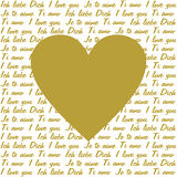 I love you in 4 languages and a golden heart Stock Image