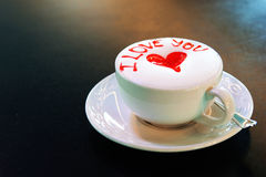 I Love You Latte cup wtih heart Royalty Free Stock Photo