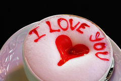 I Love You Latte cup wtih hearts Stock Image