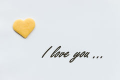 I love you letter with biscuit heart Royalty Free Stock Images