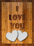 I LOVE YOU Letter carved wood Stock Photos