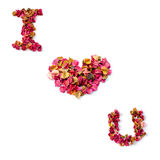 I love you letter font design from red flower Stock Photos