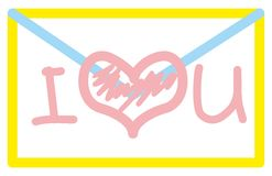 I love you. A letter to a friend- blue envelope is sealed with a pink heart and has the words I love you Stock Photo