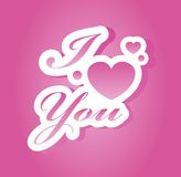 I love you lettering. Vector illustration Stock Photo