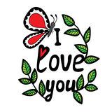 I love you lettering with butterfly and leaves Stock Images