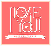 I love you. Lettering design Stock Image
