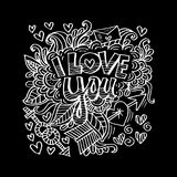 I love you lettering with floral decorative. Black background Stock Photos