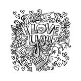 I love you lettering with floral decorative. White background Stock Image