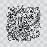 I love you lettering with floral decorative. Transparent background Royalty Free Stock Photos