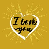 I love you lettering heart and beams golden greeting card Stock Image