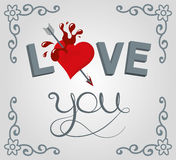 I love you. Lettering illustration love youand heart with stripes background and scroll shape corner border Royalty Free Stock Image