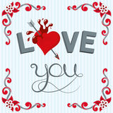 I love you. Lettering illustration love youand heart with stripes background and scroll shape corner border Stock Photo