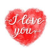 'I love you'  lettering poster. Valentine Day hand lettering typography poster. I love you calligraphy inscription with watercolor heart on white Royalty Free Stock Photos