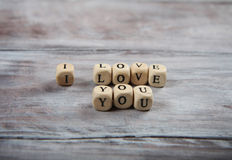 I love you lettering on small cubes Stock Photos