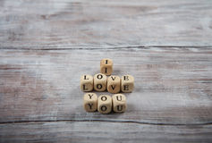 I love you lettering on small cubes Stock Image