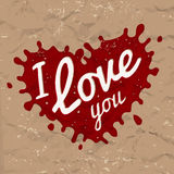 I love you lettering in splash vector design. Retro heart shape symbol logo concept. Bright red ink on brown crumpled Stock Photography