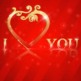 I Love You lettering stylish golden text Stock Photos