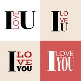 I love you lettering. Typograhic lettering. Declaration of love Royalty Free Stock Photography
