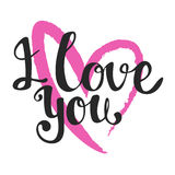 I love you lettering. Vector art. Hand drawn lettering. I Love Y Stock Photo