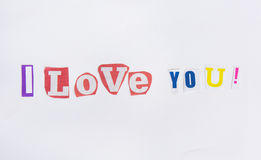 I love you from the letters cut out of newspapers Stock Photos