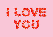 I Love You letters flat lay with red vector paper hearts on pink background. Love and Valentine`s Day concept Royalty Free Stock Photos