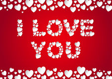 I Love You letters flat lay with vector paper hearts. I Love You letters flat lay with white vector paper hearts on red background Royalty Free Stock Image