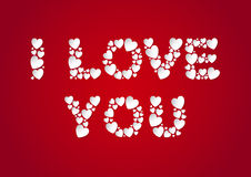 I Love You letters flat lay with white vector paper hearts on red background. Love and Valentine`s Day concept Royalty Free Stock Photography