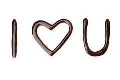 I love you liquid chocolate sign Stock Photo
