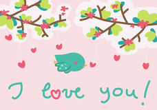 I love you little bird card Stock Photo
