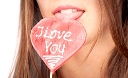 I Love You lollipop Royalty Free Stock Photography