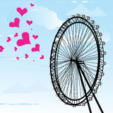 I love You London Poster Design and hearts vector illustration  and London eye design, vector illustration Stock Image