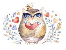 I love you. Lovely watercolor illustration with sweet owls, hearts and flowers in awesome colors. Stunning romantic Stock Photography