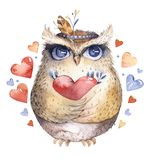 I love you. Lovely watercolor illustration with sweet owls, hearts and flowers in awesome colors. Stunning romantic. Valentines day card made in watercolor Stock Photo