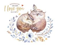 I love you. Lovely watercolor illustration with sweet owls, hearts and flowers in awesome colors. Stunning romantic. Valentines day card made in watercolor Stock Image