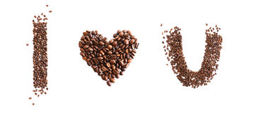 I love you made from coffee beans. Isolated on white background Royalty Free Stock Photos