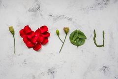 I love you - made of flowers, petals and leaves Stock Images