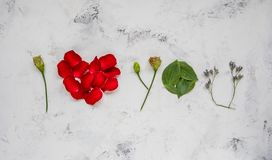 I love you - made of flowers, petals and leaves Royalty Free Stock Image