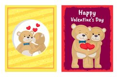 I Love You and Me Teddy Bears Vector. I love you and me teddy bears with heart sign vector illustration of stuffed toy animals, presents for Happy Valentines Day Royalty Free Stock Images