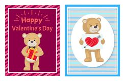 I Love You and Me Teddy Bears Vector. I love you and me teddy bears with heart sign vector illustration of stuffed toy animals, presents for Happy Valentines Day Stock Photography