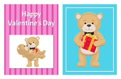 I Love You and Me Teddy Bears Vector. I love you and me teddy bears with heart sign vector illustration of stuffed toy animals, presents for Happy Valentines Day Royalty Free Stock Photos