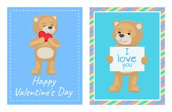 I Love You and Me Teddy Bears Vector. I love you and me teddy bears with heart sign vector illustration of stuffed toy animals, presents for Happy Valentines Day Stock Images
