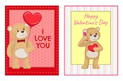 I Love You and Me Teddy Bears Vector. I love you and me teddy bears with heart sign vector illustration of stuffed toy animals, presents for Happy Valentines Day Stock Photo