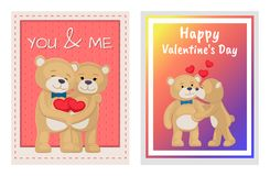 I Love You and Me Teddy Bears Vector. I love you and me teddy bears with heart sign vector illustration of stuffed toy animals, presents for Happy Valentines Day Stock Image
