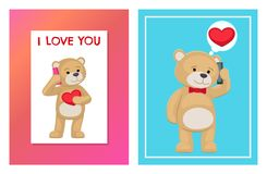 I Love You and Me Teddy Bears Vector. I love you and me teddy bears with heart sign vector illustration of stuffed toy animals, presents for Happy Valentines Day Royalty Free Stock Photography
