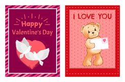 I Love You and Me Teddy Bears Vector. I love you and me teddy bears with heart sign vector illustration of stuffed toy animals, presents for Happy Valentines Day Royalty Free Stock Image