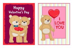 I Love You and Me Teddy Bears Vector. I love you and me teddy bears with heart sign vector illustration of stuffed toy animals, presents for Happy Valentines Day Stock Photos
