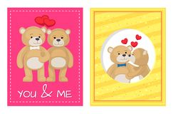 I Love You and Me Teddy Bears Vector. I love you and me teddy bears with heart sign vector illustration of stuffed toy animals, presents for Happy Valentines Day Royalty Free Stock Photo